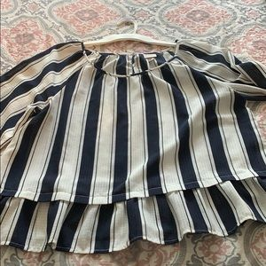 Navy Blue and White Blouse